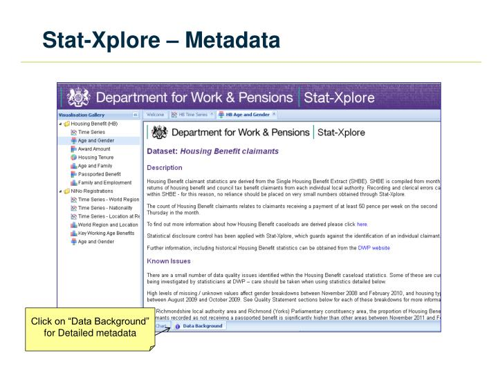 Stat-Xplore – Metadata