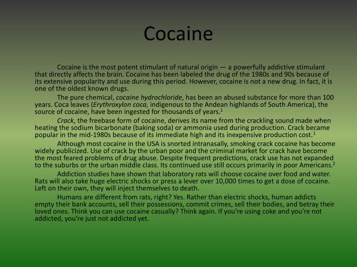crack cocaine usage symptoms general information essay Cause and effect john henderson cause and effect april 14, 2013 cause and effect of being a student-athlete the dedication and self-motivation required to balancing schoolwork and practice is the most difficult part of being a student-athlete.