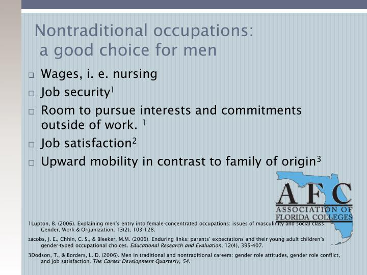 Nontraditional occupations: