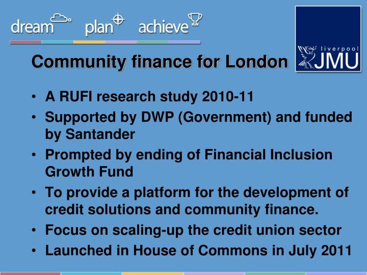 Community finance for london