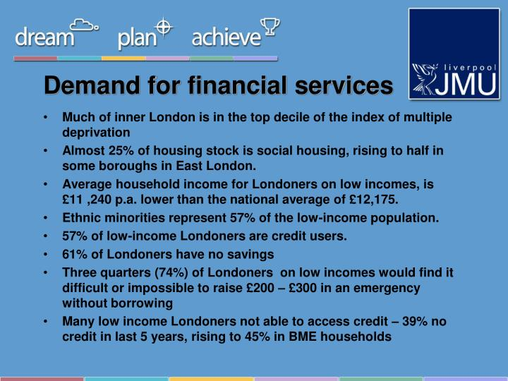 Demand for financial services