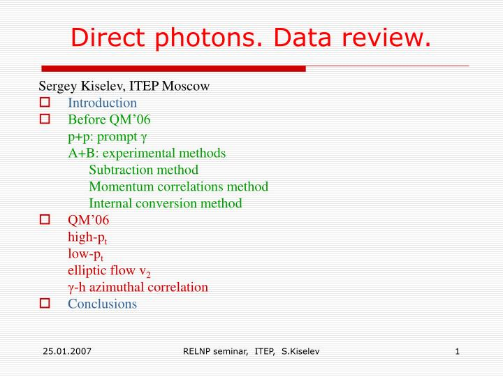 direct photons data review n.