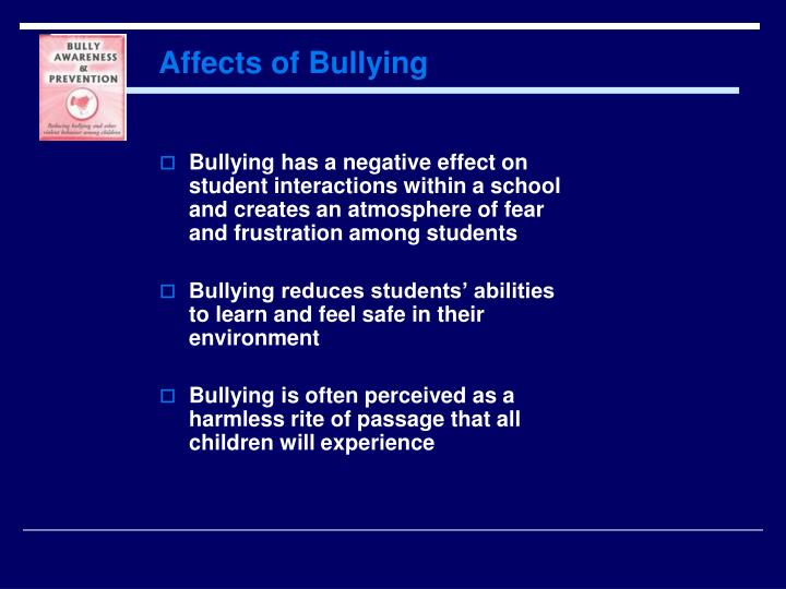 effects of bullying to students School bullying affects majority of elementary students, stanford/packard researchers find apr 12 2007 stanford, calif - nine out of 10 elementary students have been bullied by their peers, according to a simple questionnaire developed by researchers at lucile packard children's hospital and the stanford university school of medicine.