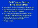 dvs program options let s make a deal