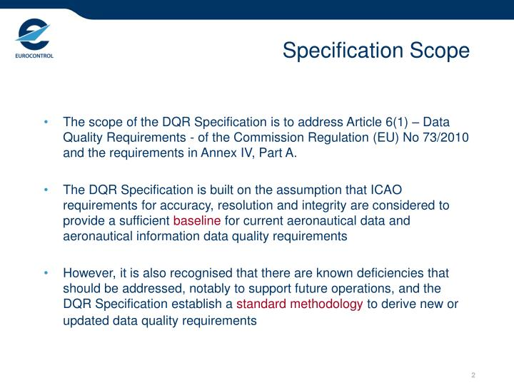 Specification scope