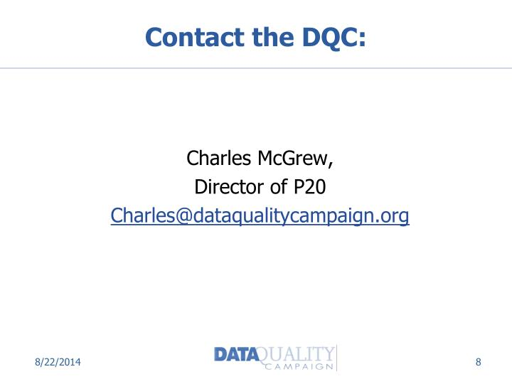 Contact the DQC: