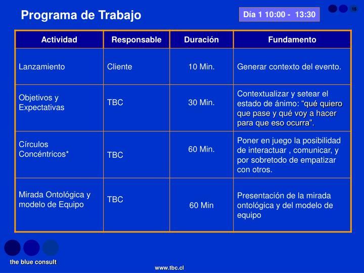 Día 1 10:00 -  13:30