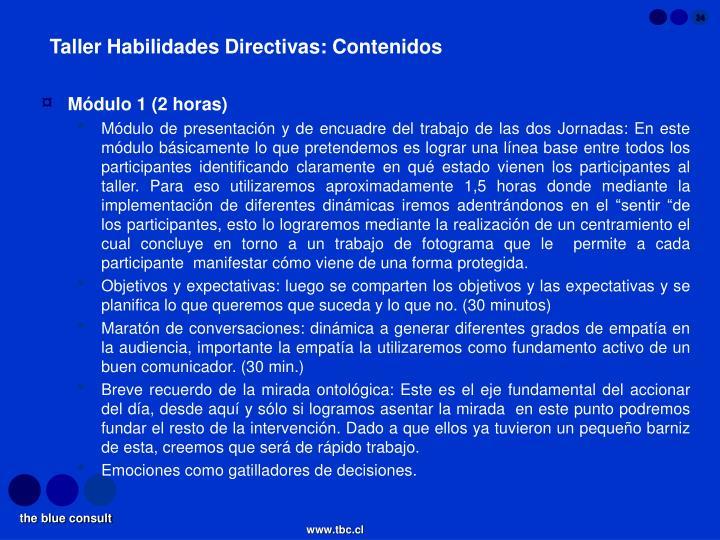 Taller Habilidades Directivas: Contenidos