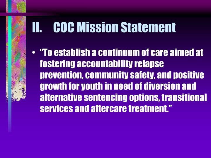 Ii coc mission statement