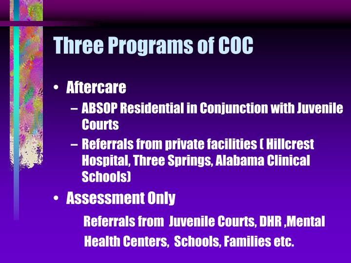 Three Programs of COC