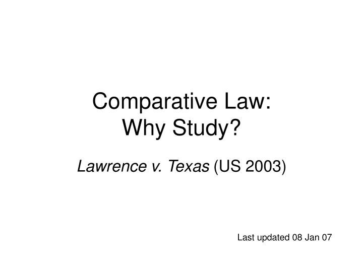 Comparative law why study