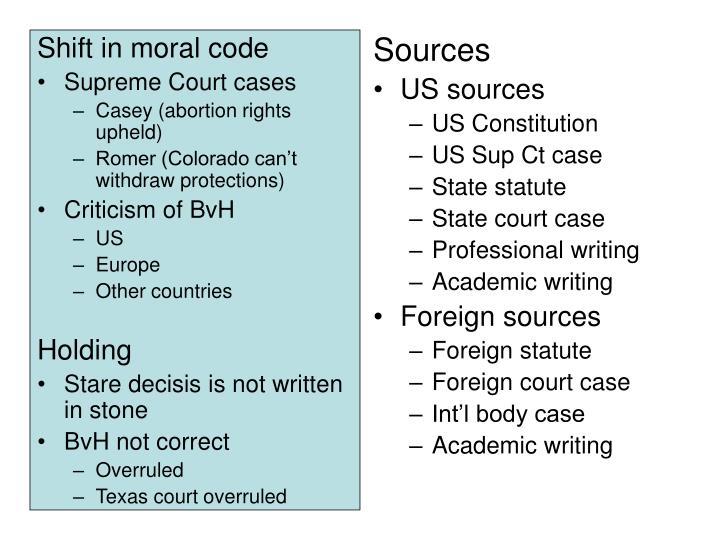 Shift in moral code