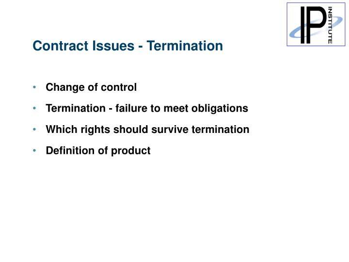 Contract Issues - Termination