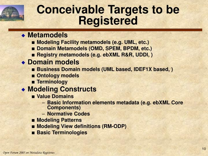Conceivable Targets to be Registered
