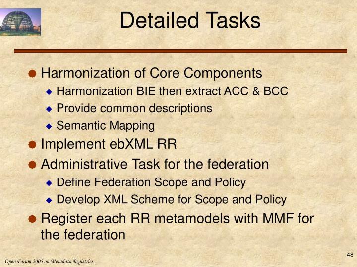 Detailed Tasks