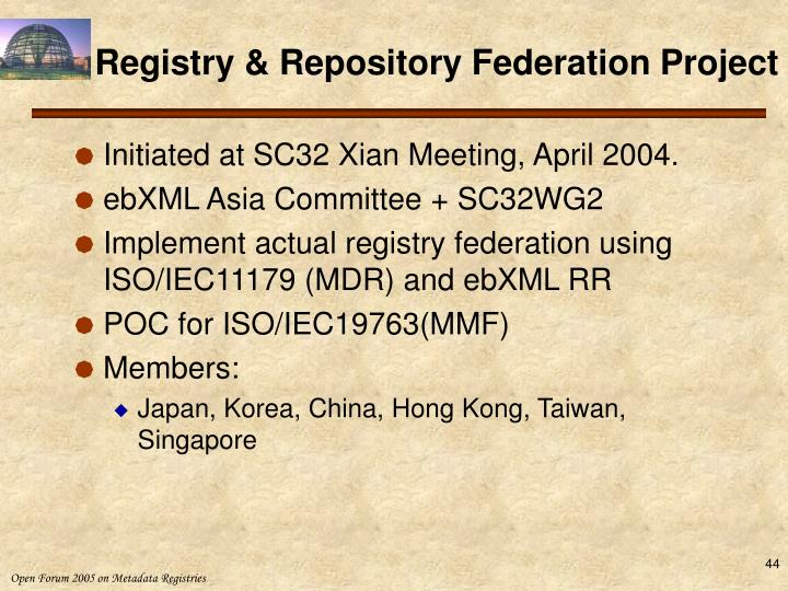 Registry & Repository Federation Project