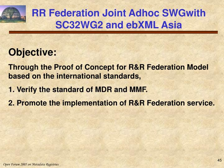 RR Federation Joint Adhoc SWGwith SC32WG2 and ebXML Asia