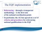the eqf implementation