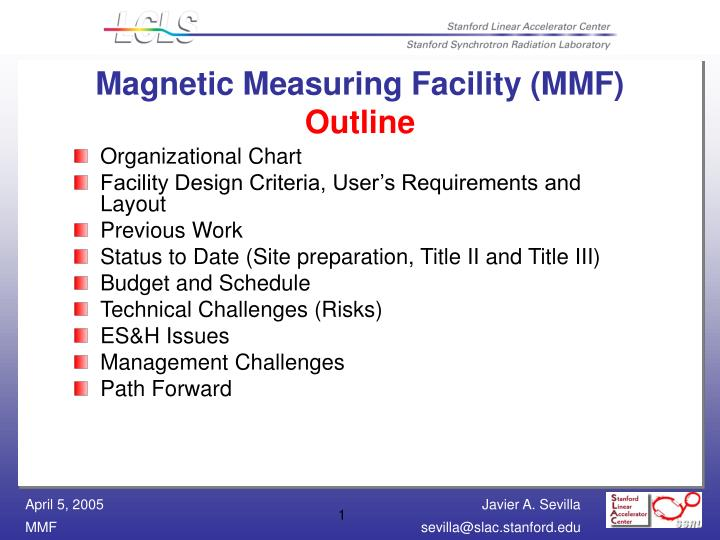 magnetic measuring facility mmf outline n.