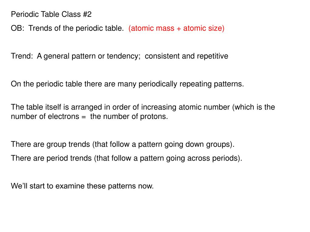 Ppt Periodic Table Class 2 Ob Trends Of The Periodic Table