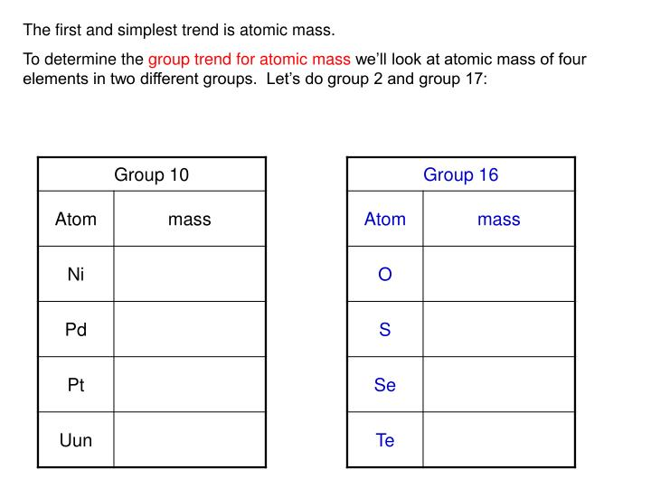 Ppt periodic table class 2 ob trends of the periodic table the first and simplest trend is atomic mass urtaz