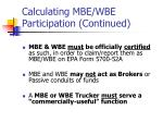 calculating mbe wbe participation continued