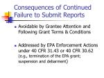 consequences of continued failure to submit reports