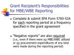 grant recipient s responsibilities for mbe wbe reporting