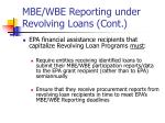 mbe wbe reporting under revolving loans cont