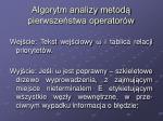 algorytm analizy metod pierwsze stwa operator w
