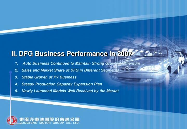 II. DFG Business Performance in 2007