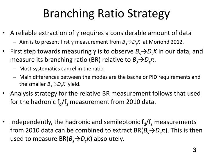 Branching ratio strategy