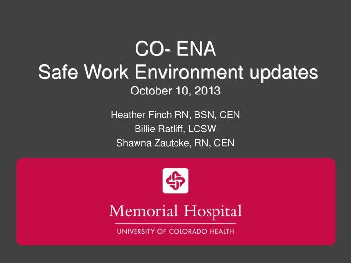 Co ena safe work environment updates october 10 2013