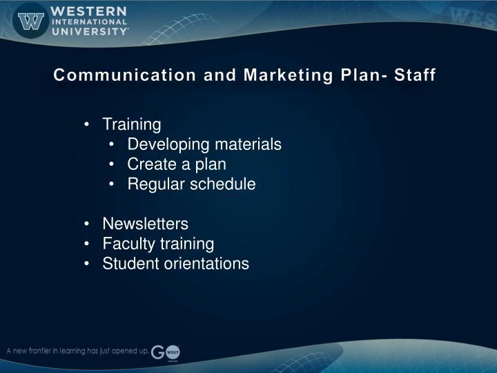 Communication and Marketing Plan- Staff