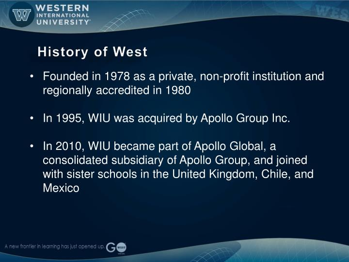 History of west