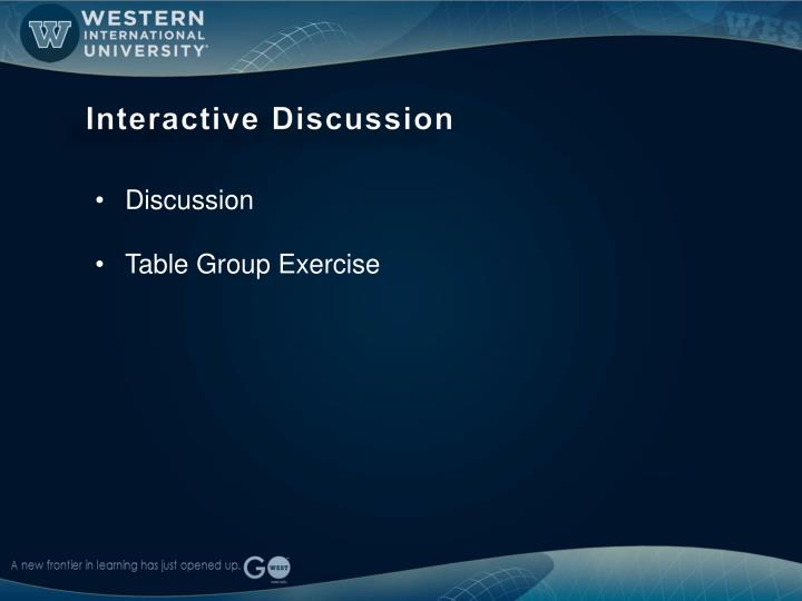 Interactive Discussion