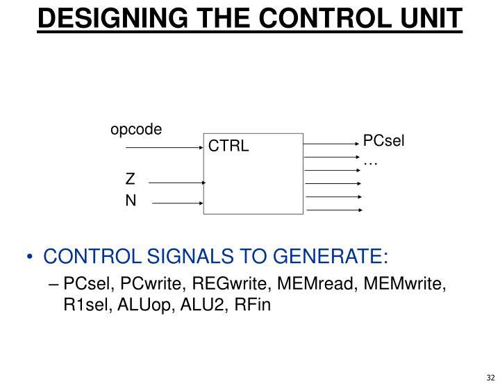 DESIGNING THE CONTROL UNIT