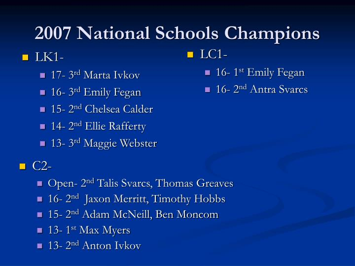 2007 National Schools Champions
