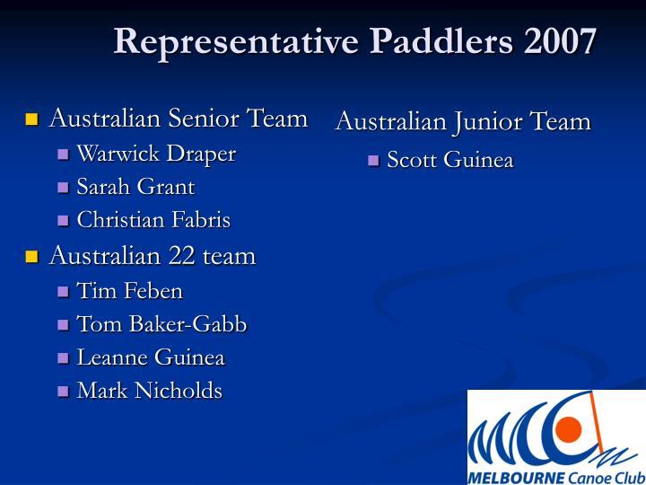 Representative Paddlers 2007