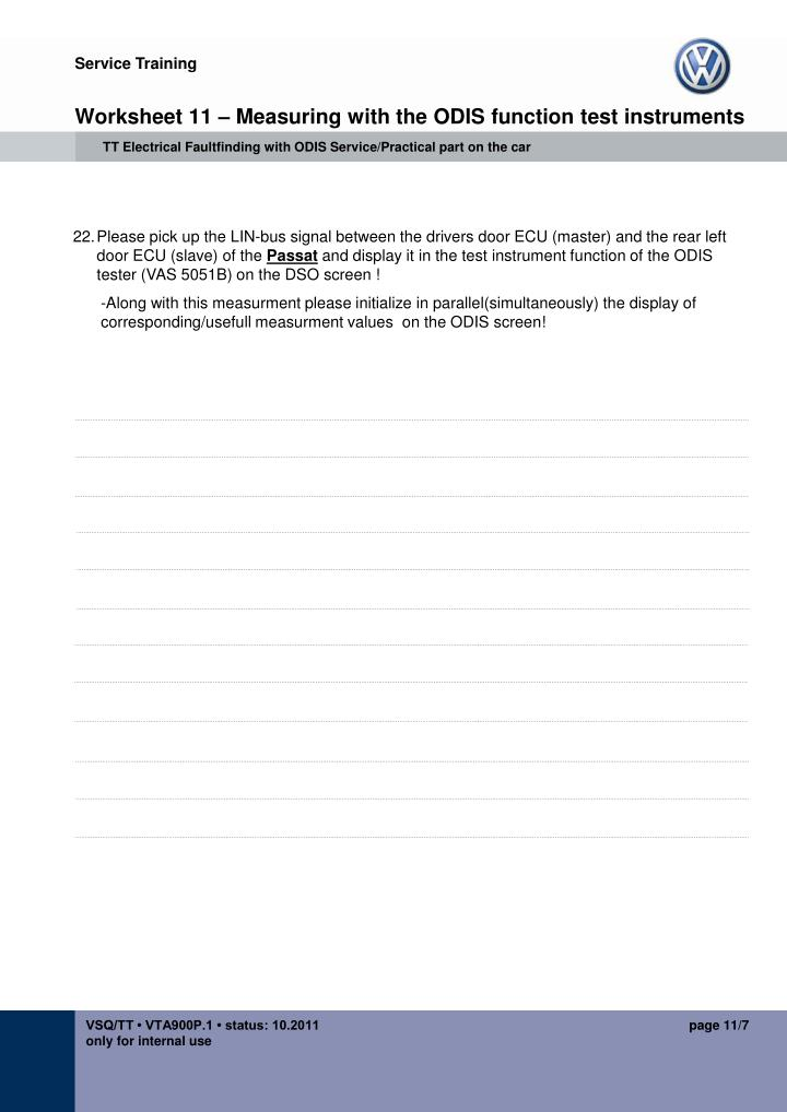Worksheet 11 – Measuring with the ODIS function test instruments