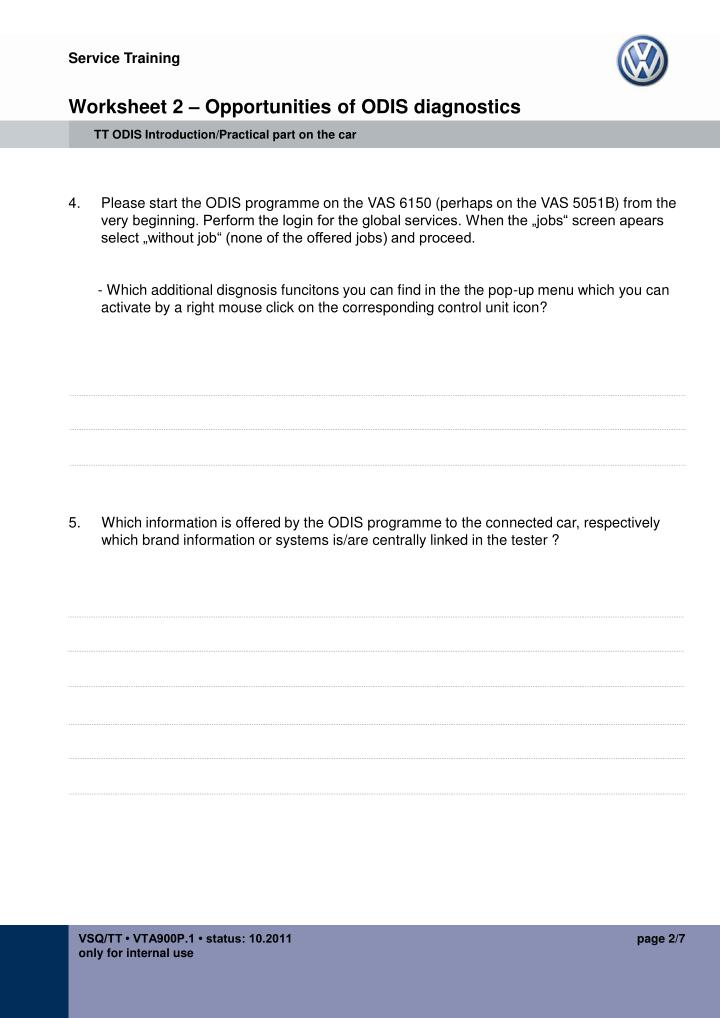 Worksheet 2 opportunities of odis diagnostics