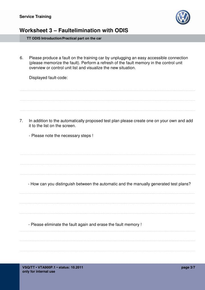 Worksheet 3 faultelimination with odis
