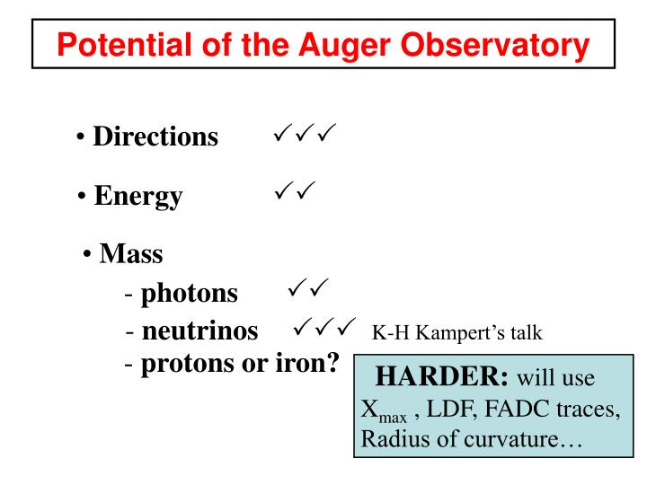 Potential of the Auger Observatory
