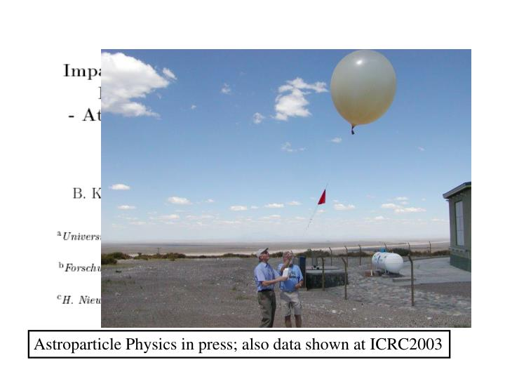 Astroparticle Physics in press; also data shown at ICRC2003