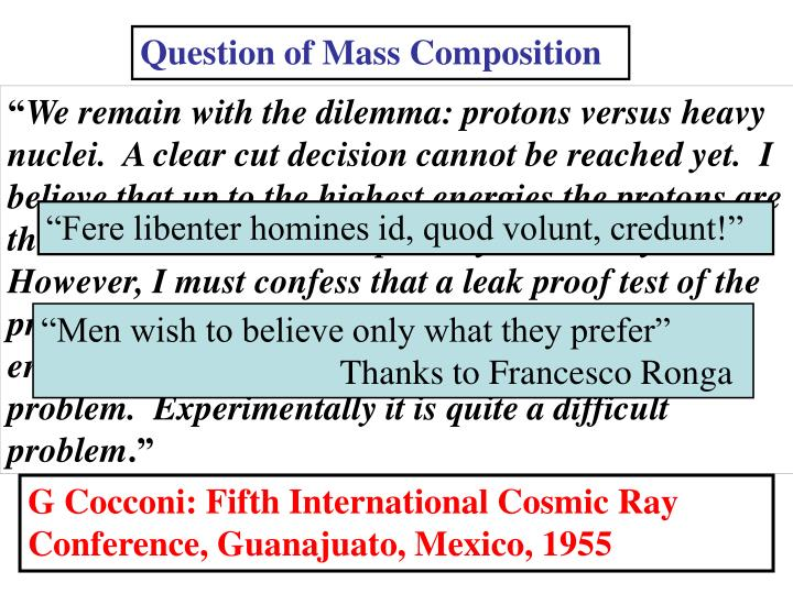 Question of Mass Composition