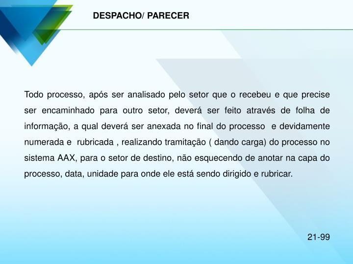 DESPACHO/ PARECER