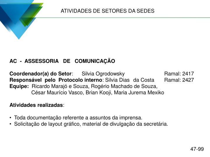 ATIVIDADES DE SETORES DA SEDES