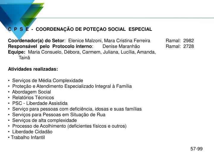 C  P  S  E  -  COORDENAÇÃO DE POTEÇAO SOCIAL  ESPECIAL