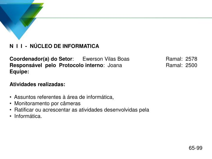 N  I  I  -  NÚCLEO DE INFORMATICA