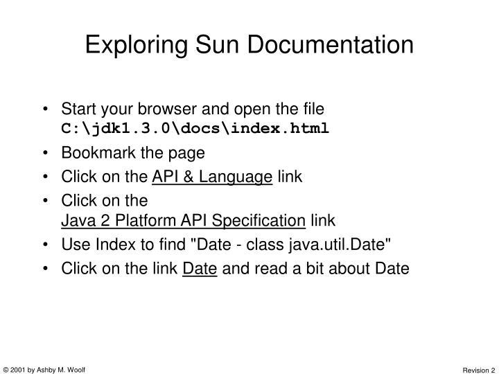 Exploring Sun Documentation